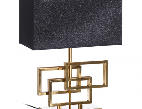 Rectangular Blue Side Table Lamp