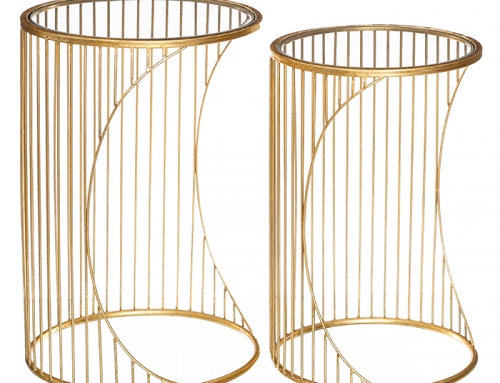 Round Gold Glass Side Tables Set of 2