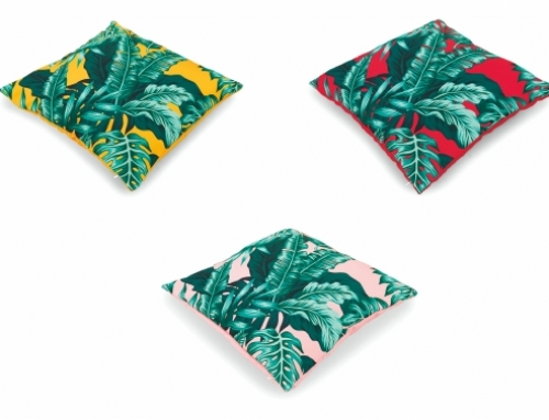 Yellow, Red, Pink with Green Leaves Pattern Pillows