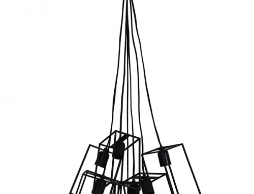Small Square Cubes Black Chandelier