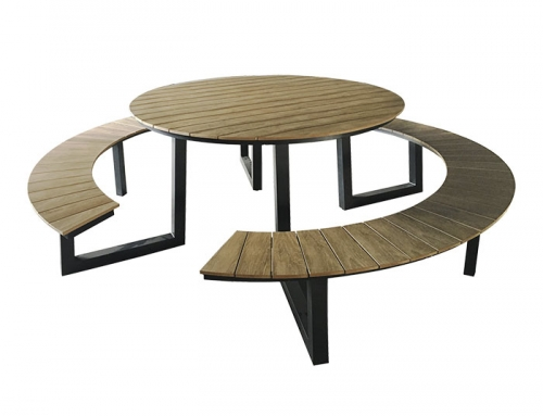 Circular outdoor table and bench