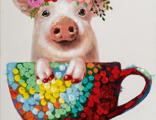Painting  Pig in a Tea Cup