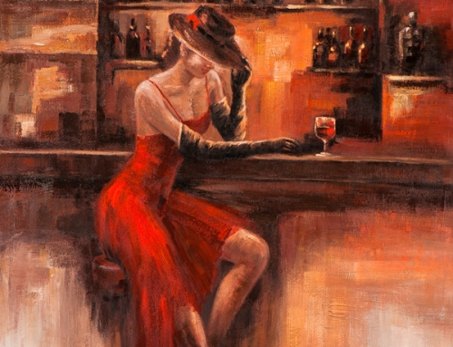 Painting woman Waiting Bar In a Red Dress