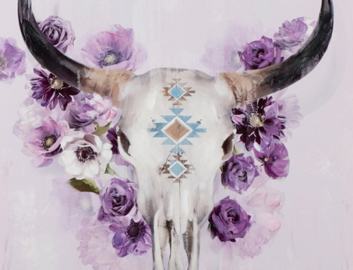 Painting Bull Skull with Flowers