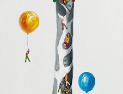 Painting of a Tall Giraffe With Balloons