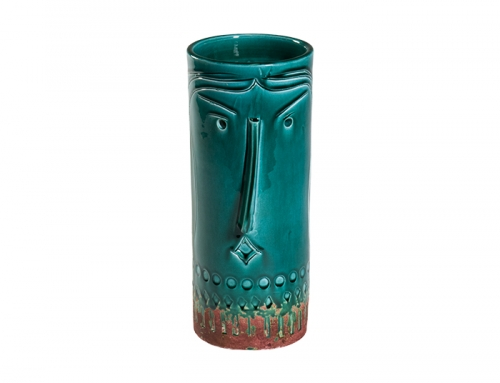 Tall Inca Green Ceramic Vase