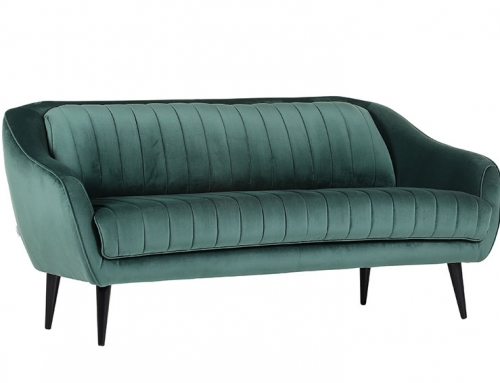 Dark Green Suede Couch