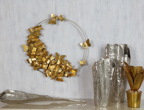 Silver Vases and Gold Artificial Plant