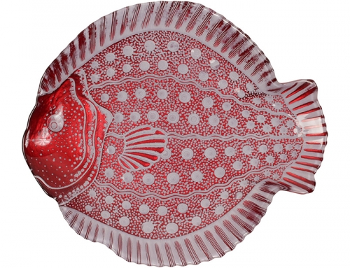 Red Fish Ceramic Serving Plate