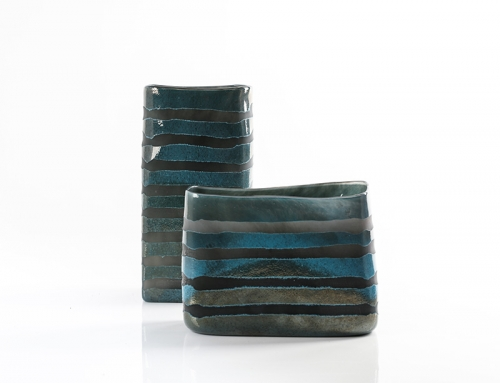 Dark Blue and Grey Vases